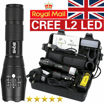 Tactical 20000LM Zoomable LED Flashlight Rechargeable battery Torch with BOX UK