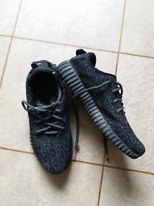 Homme-Adidas-Boost-Yeezy-Baskets-taille-7-5-Noir-amp-Gris