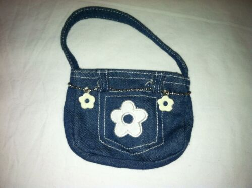 Build a Bear Jean Purse with White Flower and 2 Flower Charms