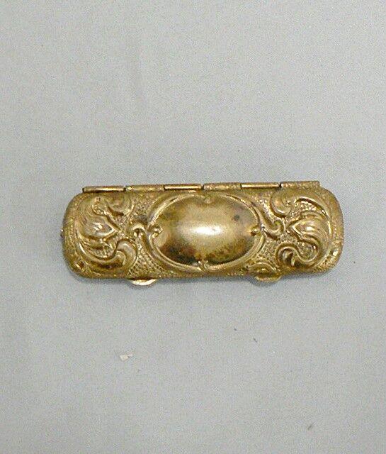 Antique Brass Needle Case with Needle