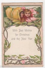 Fantasy Flowers, Children, Early Walter Wheeler Christmas Postcard, B520