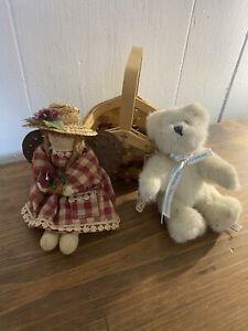 Boyds Birthday Bear & Basket & Primitive Angel Shelf Sitter Euc