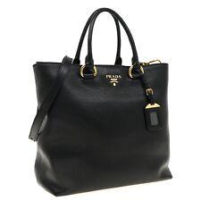 Prada Tote Large Shoulder Bag Black Leather New