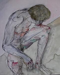 Heinz-EDER-1945-Dachau-kniender-maennlicher-AKT-sign-dat-1998