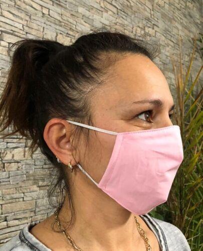 2x Mund-Nasen-Abdeckung 3 Lagen mit Tasche für extra Einlage waschbar Babyblau