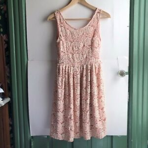 Light-Baby-Pink-Ivory-Cream-Floral-Lace-Sleeveless-Tank-Fit-Flare-Dress-Small