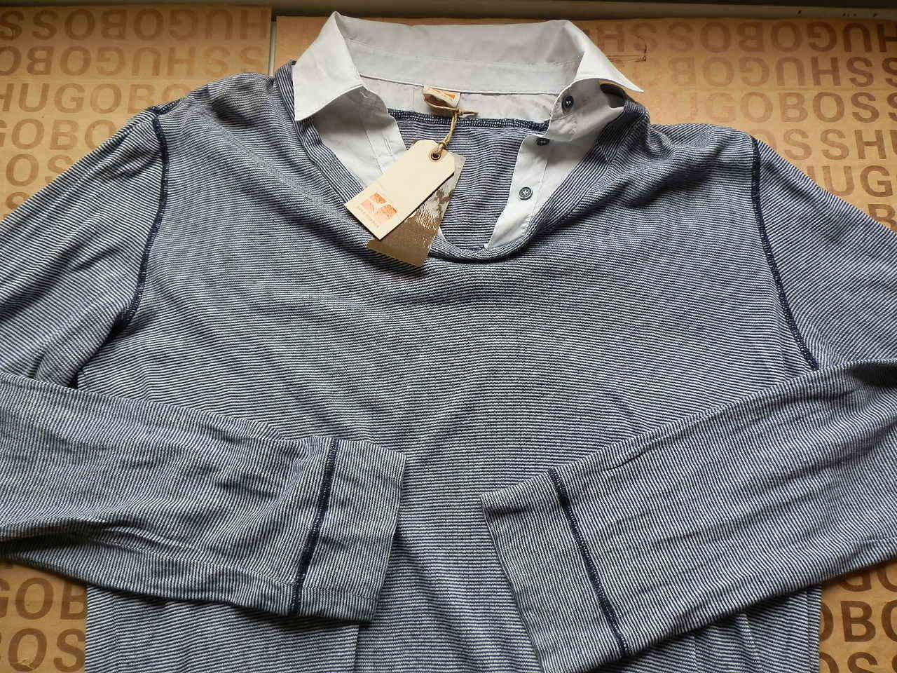 NUOVO HUGO BOSS A Righe Da Uomo Grigio Knitwear Knitwear Knitwear Sweater Cardigan Camicia 2 In 1 XL 775507