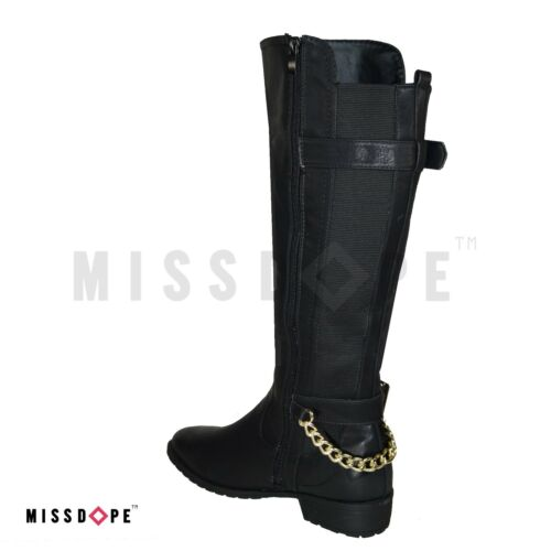 NEW CHAIN BUCKLE BLACK KNEE THIGH HIGH BOOTS FAUX LEATHER WOMENS LADIES RIDING