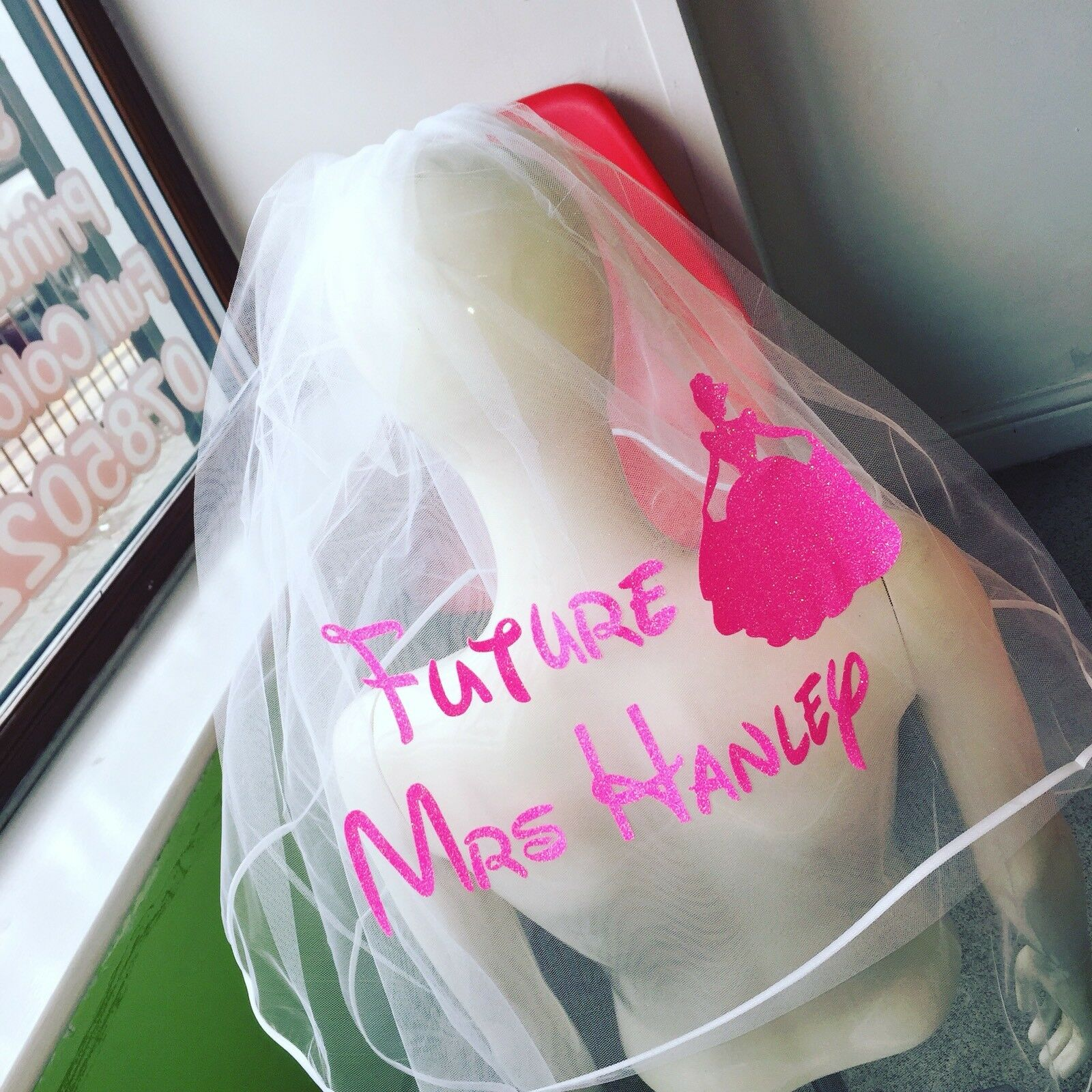 Personalised Hen Party Veil Disney Princess Inspired Glitter Any Princess 👰