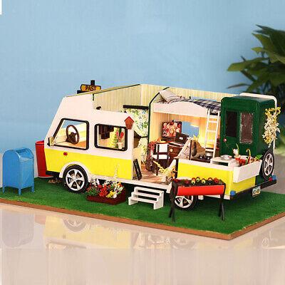 1:24 DIY Handcraft Miniaturprojekt Holzpuppenhaus entspannte Wohnmobile