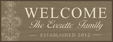 "Personalized Laser Engraved Wooden ""Welcome"" Plaque 4½"" x 12"""