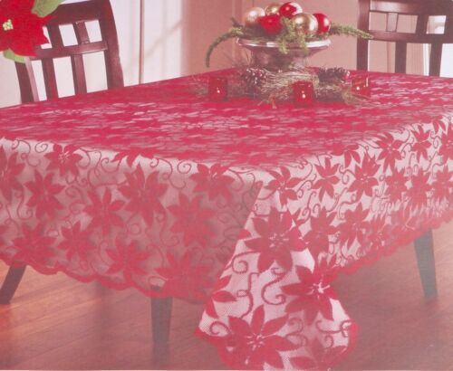 1x Holiday Red Lace Flower Tablecloth Round// Rectangle Party Decoration US Ship