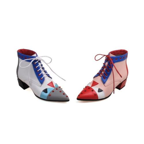 Neue Damenschuhe Niedriger Boots Schuhe up Schicke Kunstleder Absatz Lace Ankle qr51qxCPw