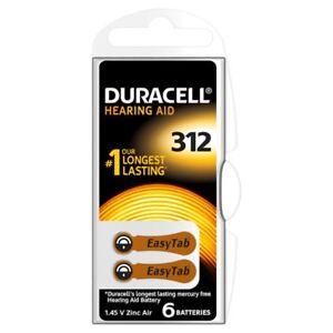 60x Hörgeräte-Batterien Typ 312 PR41 EasyTab DURACELL