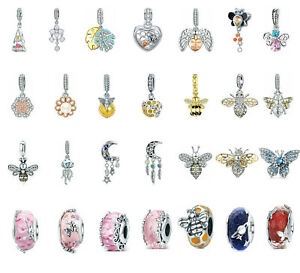 Optional-925-Sterling-Silver-Charms-Beads-Bee-Pendant-Fit-Bracelet-Necklace-DIY