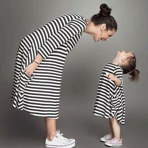 Women Loose Cotton Striped Dress Casual Family Clothes Mother Long Sleeve Dress