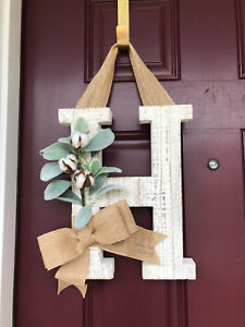 Front Door Wreath Farmhouse Letter Wreath Rustic White Washed