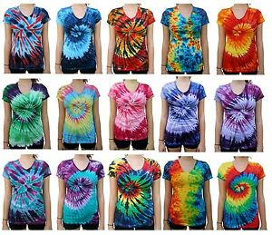 Image is loading Tie-Dye-T-Shirt-V-Neck-Women-039- 8d0e0d2e5e