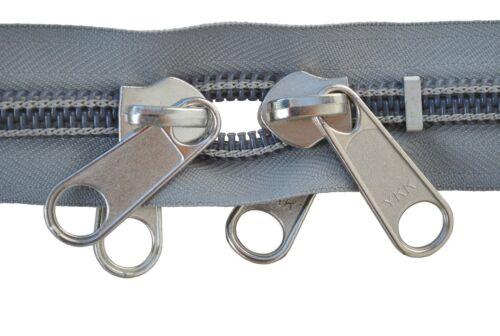 Reißverschluss 10 mm Spirale grau  2 silbernen doppelgriff Schiebern bis 300 cm