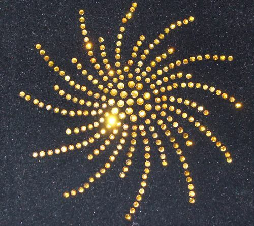 GOLD SPIRAL iron-on rhinestone diamante GEM CRYSTAL transfer diy patch applique
