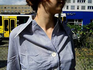 Fines Rayures Haut Femmes Nos 70er Ovp True Vintage âge Stock Blouse-afficher Le Titre D'origine