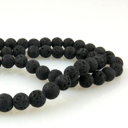 1539 1 Strang Lavaperlen rund Perlen schwarz 6mm Lava Kugeln zum Basteln