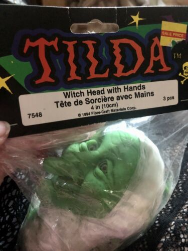 "Vintage Tilda Fibre Craft Green Witch Head /& Hands 4"" MIP"