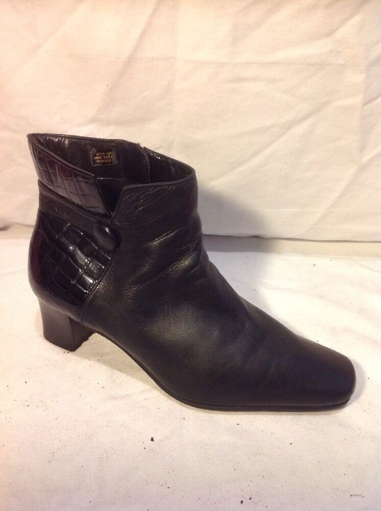 Van Dal Black Ankle Leather Boots Size 4