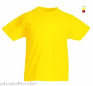 f781a653 Boys Girls Childrens Plain School PE Sports T-Shirts Red Yellow Age ...