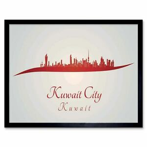Details about Painting Abstract Cityscape Red Kuwait City 12X16 Inch Framed  Art Print