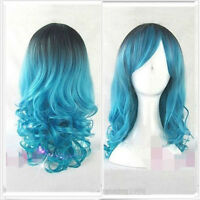 Fashion Cosplay Lolita Wig Women Full Long Curly Wavy Blue Mix Hair Wigs