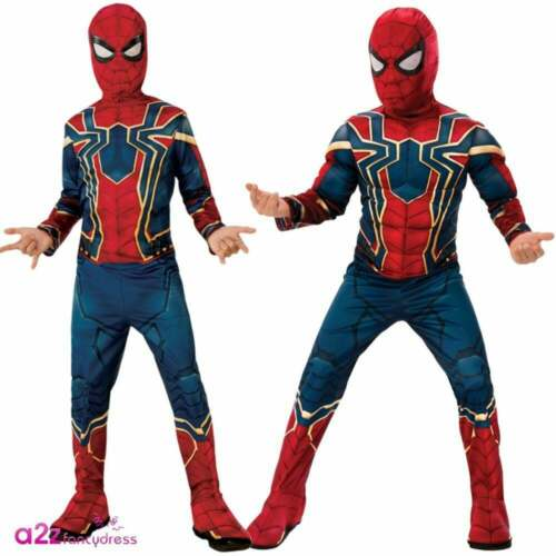 Boys Iron Spider Costume Marvel AVENGERS ENDGAME Superhero Deluxe Fancy Dress