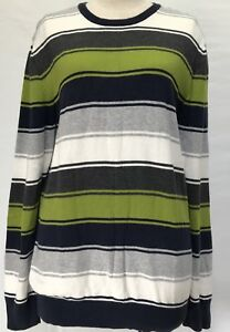 Old-Navy-Size-14-M-Jumper-100-Cotton-Long-Sleeve-Stripe-Grey-Green-White