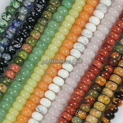 """Natural Stone Gemstone Abacus Rondelle Loose Beads 15.5"""", Pick Stone&Size!"""