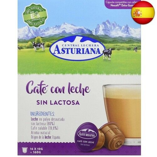 4 pack d Central milk plant Asturian capsules coffee with milk lactose free