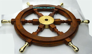 "Authentic! Boat Ships Captains Nautical Ship Wheel 18"" Wooden Steering Wheel"