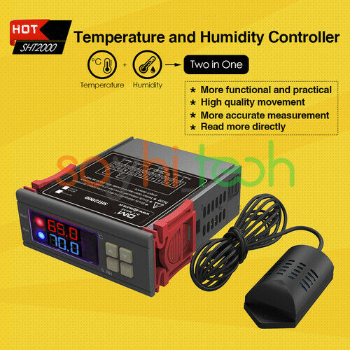 STC-1000/&MH1210W/&SHT2000 LED Temperature /& Humidity Thermostat Controller Sensor