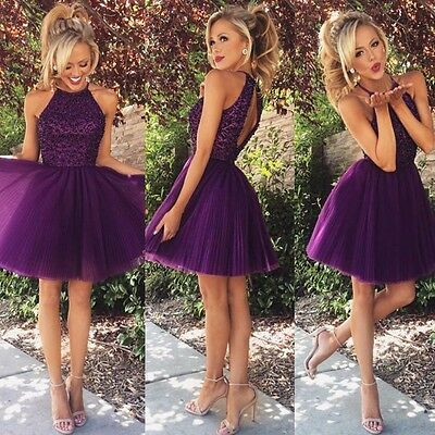 Sexy Purple Short Beads Homecoming Bridesmaid Dress Evening Party Prom Gowns