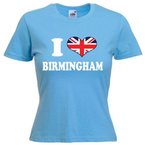 I love coeur Birmingham Mesdames LADY FIT T Shirt 13 Couleurs Taille 6-16