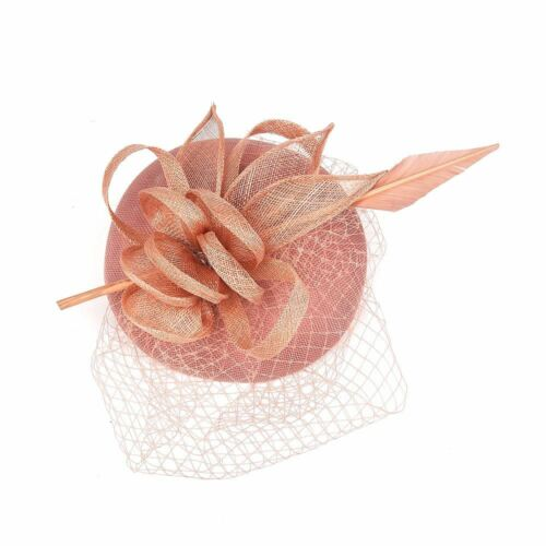 Elegant Fascinator clip and Headband Wedding Races Party Veil Net with Feather