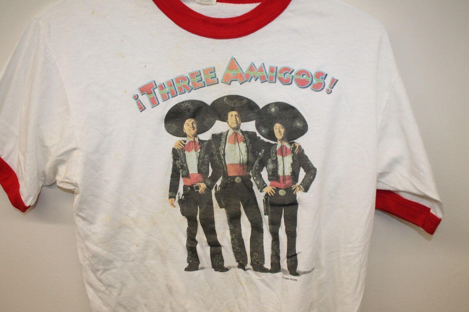 Vtg Original Three Amigos  T-shirt White Sz XL 1986