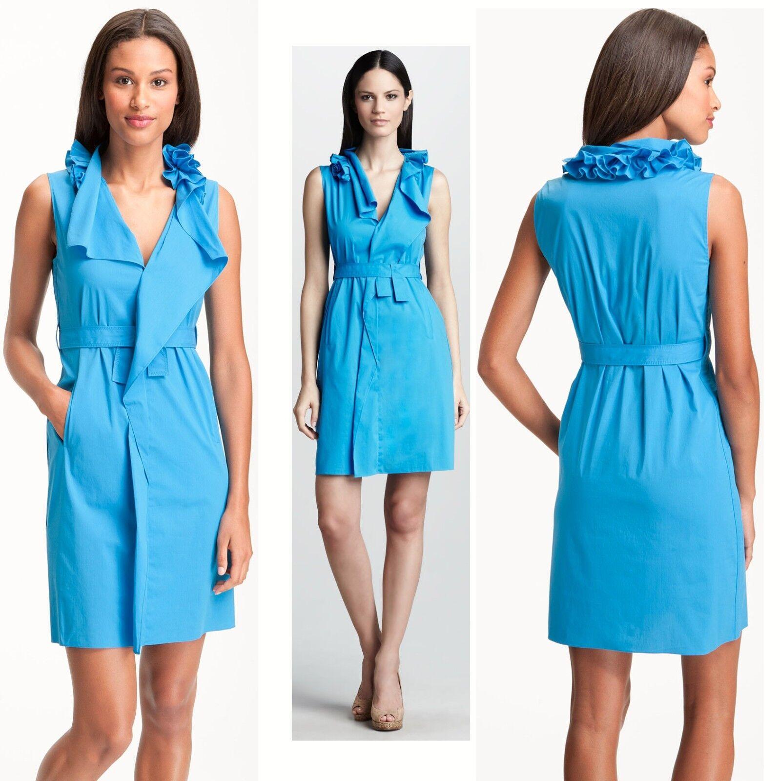 248 Elie Tahari Camille Ruffled Collar Delta bleu Stretch Poplin Robe 10