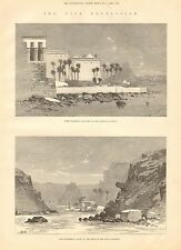 1884 ANTIQUE PRINT-NILE EXPEDITION- TEMPLE OF PHILAE,FIRST CATARACT, 2 PRINTS