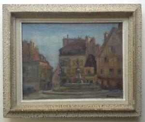 Quadro-Antico-Post-Impressionismo-Fontana-Bareuzei-Posto-Rude-per-Dijon-Olio
