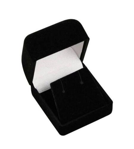 "BLACK EARRING BOX 1 3//4/"" X 1 7//8/"" X 1 1//2/"" 24 PCS CLASSIC VELOUR EARRING BOX"