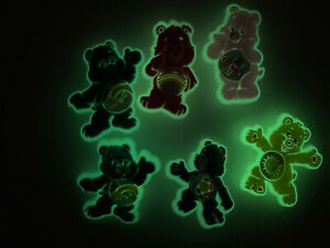 Glow-In-Dark-Care-Bears-Lot-Of-6-Shoe-Charms-Bracelet-amp-Lace-Adapter-Charms