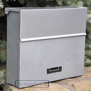gro briefkasten silber xxl c4 wandbriefkasten versteckte. Black Bedroom Furniture Sets. Home Design Ideas