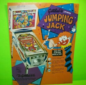 Jumping-Jack-Pinball-Machine-FLYER-Original-1973-Gottlieb-Game-Art-Sheet-Clowns