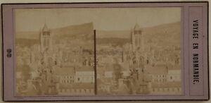 Panorama Da Rouen Normandie Francia Foto Stereo Vintage Albumina c1860