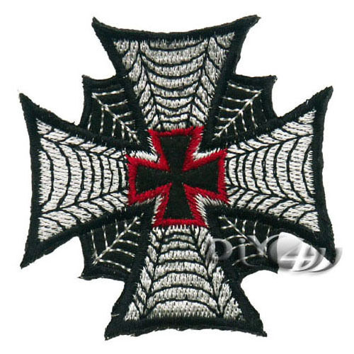 Spiderweb Cobweb Cross Iiron Biker Iron On Sew on Badge Applique Patch Sewing